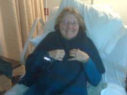 Yours truly wrapped in a healing shawl five days after surgery